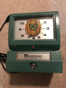 Acroprint Model 125nr4 Time Recorder Heavy duty Manual Print Time No Key tested