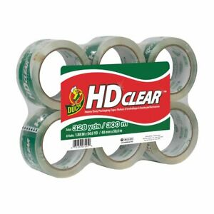 Duck Brand Hd Clear Packaging Tape 1 88 Inches X 54 6 Yards Clear 6 Pack 441962