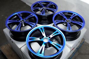 15 Wheels Yaris Vw Jetta Corolla Honda Accord Civic Miata Blue Black Rims 4 Lug