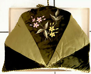 Beautiful Large Victorian Green Velvet Satin Hand Embroidered Padded Tea Cosy