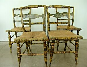 Antique Smoke Decorated Gold Leafed Yellow Hitchcock Chairs 4