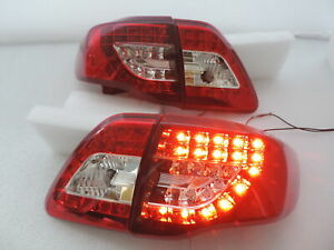 For 2009 2010 Toyota Corolla Altis Red Clear Led Brake Signal Tail Light