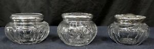 Three Vintage Antique Crystal Powders W Sterling Silver Lid Covers