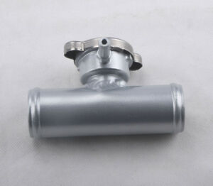 35mm Aluminum In Line Radiator Hose Filler Neck With Cap Silver