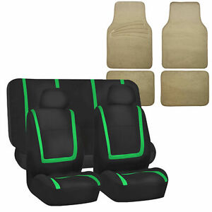 Auto Universal Seat Covers For Car Suv Van Green Combo W Beige Floor Mat