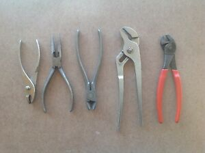 Snap On Pliers Vintage Lot Of 5 208b 91a 87c 196 45