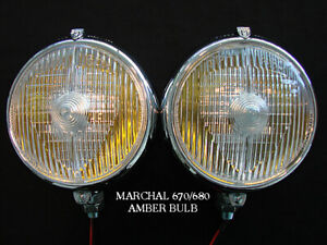 Marchal 670 680 Driving Fog Lights With Amber 55 Watt Bulbs 12v