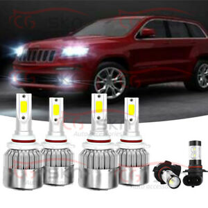 6x Led Headlight Bulbs High Low Fog Light Pkg For Jeep Grand Cherokee 1999 2010