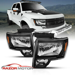 For 2009 2014 Ford F150 Black Oem Factory Style Lens Headlights Left Right Pair