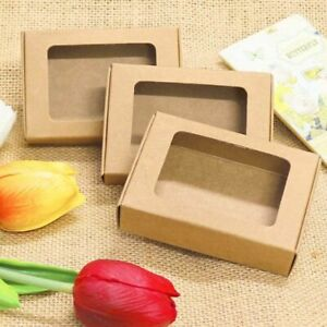 Kraft Paper Gift Boxes With Window 20pcs Handmade Soap Packing Box Jewelry Box