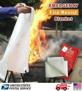 1m Emergency Fire Blanket Quick Release In Case For Home Office Car Us Stock