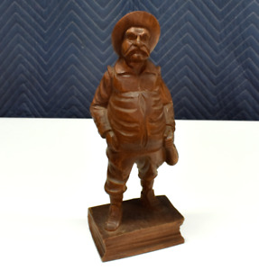 Vintage Hand Carved Wood Black Forest Fat Man With Bag On A Book Figurine 8 25