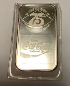 1 oz 75th Anniversary Coca Cola Pure 999 Silver Art Bar Cincinnati, OH