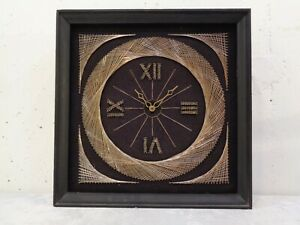 Vintage Mid Century Modern Gold Metal Wood Frame String Art Wall Clock 13 X 13