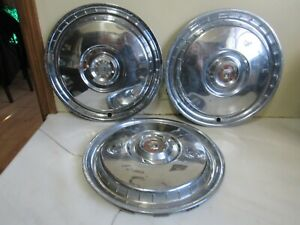 Vintage Set Of 3 1955 1956 Ford Car Hubcaps Fairlane Crown Victoria Wagon