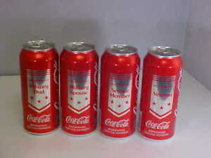 Collectible Military Coca Cola Lot 4 Cans 16 oz New Expiration Feb 05  2018 NEW