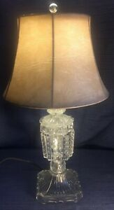 Antique 20 1 2 Bedroom Boudoir Table Lamp Crystal Prism S Glass Finial