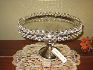 Brillante Silver Plate Crystal Table Centerpiece Footed Cookie Tray Platter