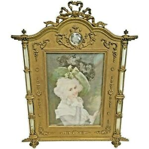 19c French Bronze Mother Of Pearl Frame W Fine Miniature