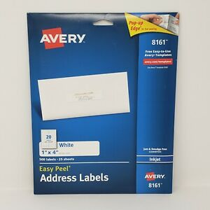 Avery 8161 White Easy Peel Address Labels 1 X 4 500 Labels ave8161