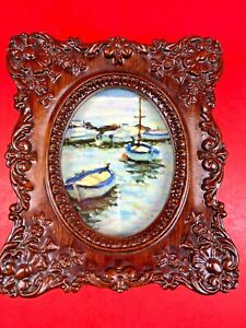 Vintage Small Victorian Ornate Brown Table Top Picture Frame