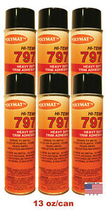 Qty6 Polymat 797 High temp Adhesive Spray Glue Heat And Water Resistant 160f