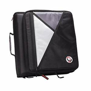 Case it 1 5 inch 3 ring Zipper Binder With Removable Laptop Sleeve Black Lt