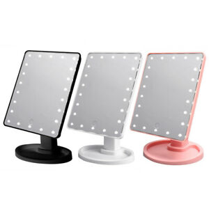 22 Led Light Vanity Makeup Mirror Touch Screen Lighted Tabletop Cosmetic Mirror