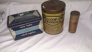 3 Vintage Tin Cans-Follow-On-Trufood--Alpha Time Tested School Supplies-Medicine