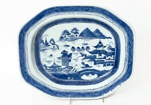 Chinese Export 17 19th C Blue And White Canton Well And Tree Meat Platter