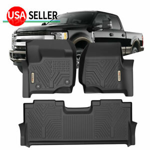 All Weather Floor Mats Liners For 17 22 Ford F 250 F350 F450 Super Duty Crew Cab