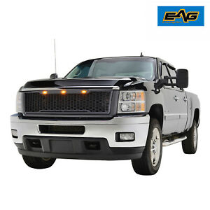 Eag Mesh Grill Grille W led Light Fit For 11 14 Chevy Silverado 2500 3500 Hd