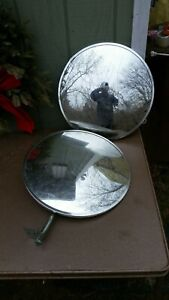 Pair Vintage Large Truck West Coast Side Towing Mirrors 16 Inches Round Trucker