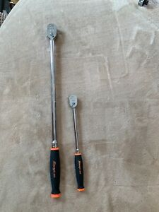 Snap On 2 Pc Extra Long Handle Ratchets 3 8 And 1 4 Drives Orange Handles