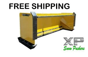 8 Xp30 Cat Yellow Snow Pusher W pullback Bar skid Steer Loader Free Shipping