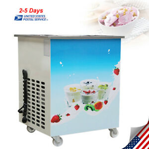 1050w Commercial Fried Ice Cream Machine Round Pan Ice Cream Roll Maker 110v Usa