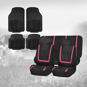 Black Pink Seat Covers For Car Suv Auto With Black Rubber Floor Mats