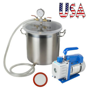 5 Gallon Vacuum Chamber Safe 3cfm Single Stage Pump Degassing Silicone 220ml Oil