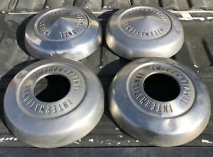 Vintage 1960 s International Harvester Silver Dog Dish Wheel Hub Caps Lot Of 4