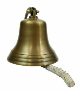 Aluminum Antique Brass Finish Ship S Bell 7 Nautical Hanging Wall Decor New