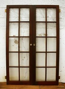 2 Pair Avail 42 X63 Antique Vintage Wood Wooden Cabinet Pantry Door Window Glass