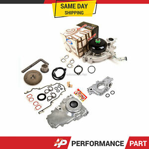Timing Chain Kit Cover Gasket Sensor Water Oil Pump For 97 04 Gm Ls1 4 8 5 3 6 0