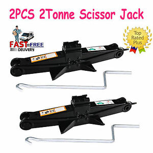 2pc 2 Ton Tonne Scissor Wind Up Jack Stand For Car Van With Crank Speed Handle