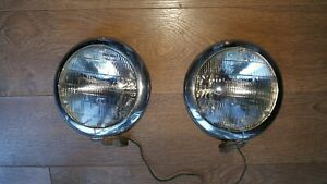 Set 1940 S m Headlights Lamps 670 Vtg Pair Ford Chevy 12 Volt Ratrod Usa Tractor
