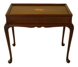 49000ec Queen Anne Style Inlaid Top Mahogany Tea Table