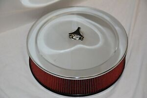 Chrome 14 X 4 Street Rod Recessed Base Air Cleaner Red Washable Filter Bonus