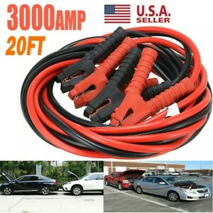 3000amp Booster Cables 0 Gauge 20ft Jumper Leads Heavy Duty Car Van Clamps Start