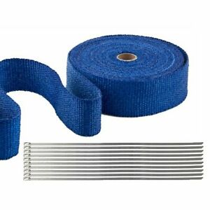 2 50ft Roll Blue Exhaust Wrap Manifold Header Pipe Heat Wrap Tape 10 Ties Kit