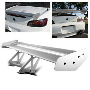55 Adjustable Aluminum Gt Style Car Double Deck Racing Spoiler Wing Silver New