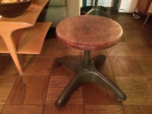 Vintage Adjusto Co Wood Metal Industrial Shop Stool Plant Stand Very Good